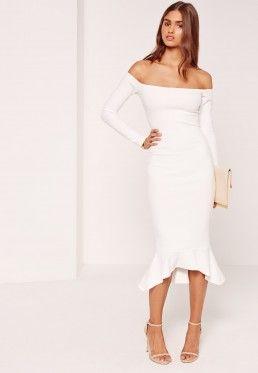 4a9d8c68e139 Bardot Fishtail Hem Dress White