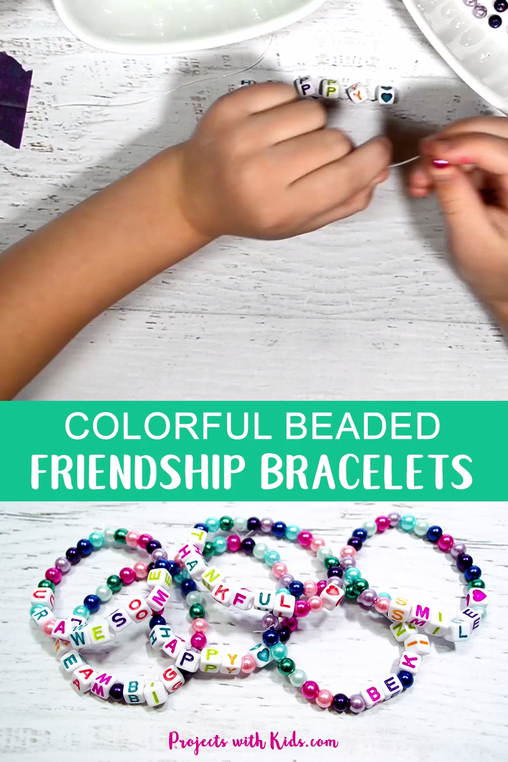 a2674d540d25a3 Kids will love making these colorful beaded friendship bracelets for their  friends. A super easy
