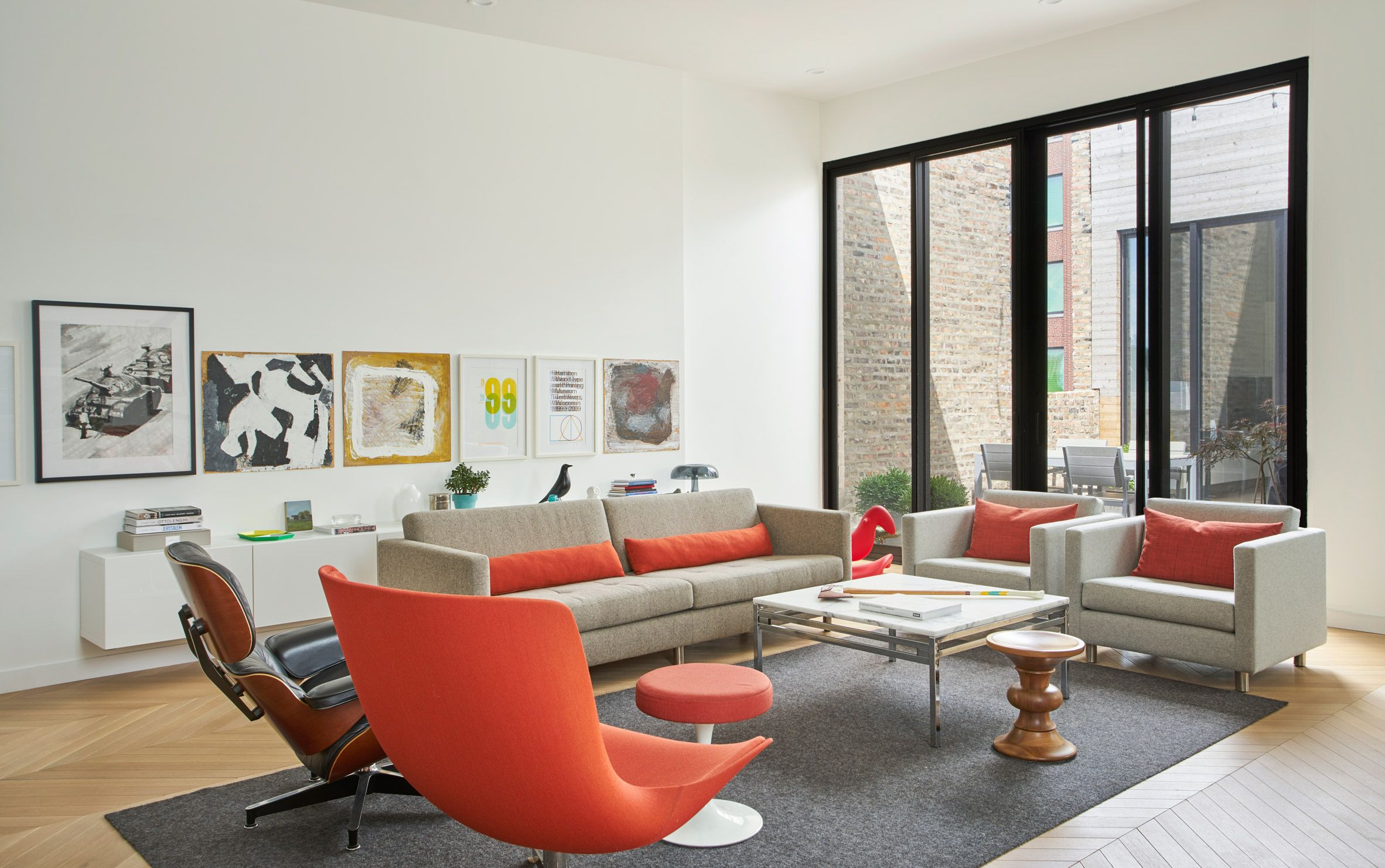 Collective Office Founder Converts Chicago Factory Into His Apartment Courtyard House Home Living Room Lounge