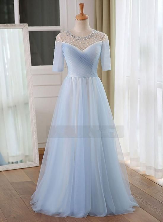 Light Blue Short Sleeves Beaded Charming Floor Length Party Gowns Bridesmaid Dresses Gone are the days when bridesmaids shrink from their dresses. Now, with such a wide collection of dress styles available, choosing bridesmaid dresses will feel exciting! But, with so many choices to pick from, some brides might actually find themselves feeling overwhelmed. So, when browsing for bridesmaid dresses, utilize this guide to find the best dress styles, favorite fabrics and the absolute most flatter