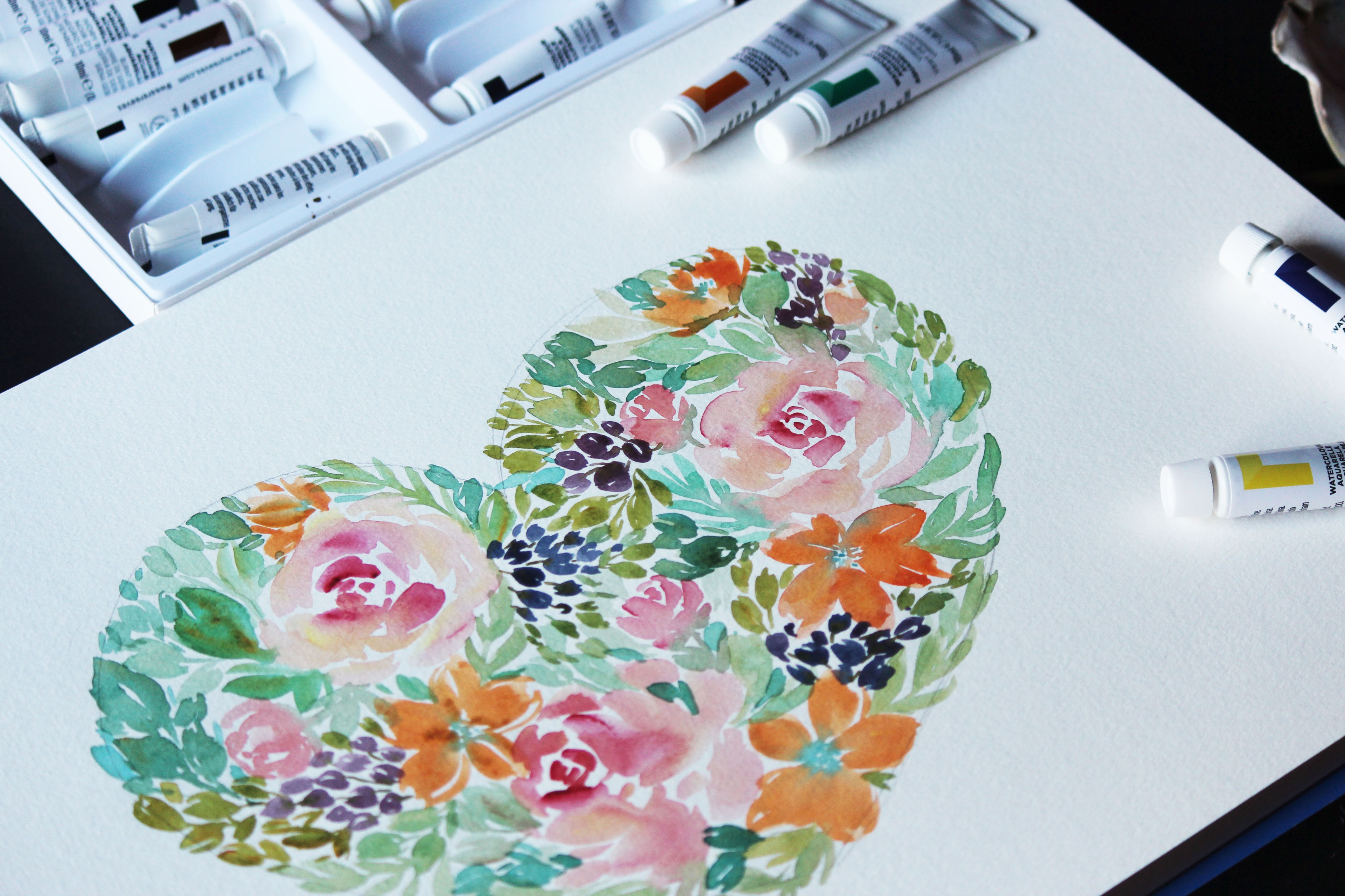 Tutorial On How To Paint A Watercolour Flower Heart By Clarice