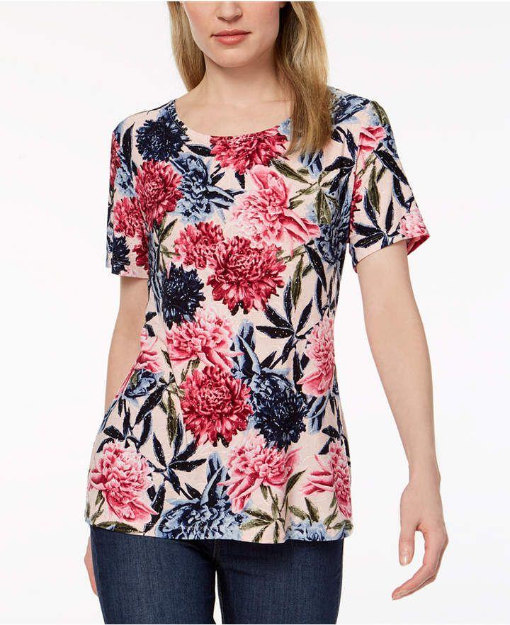 Jm Collection Plus Size Floral-Print Tunic   Floral print