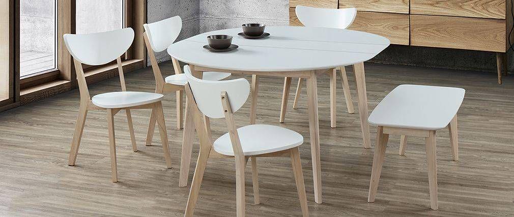 Tavolo da pranzo design rotondo allungabile bianco e legno LEENA ...