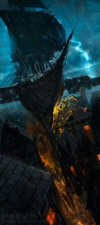 Sky ship crashing into a building. Noah Bradley