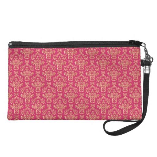 Gold Pink Damask Wristlet other colors of this to chose from