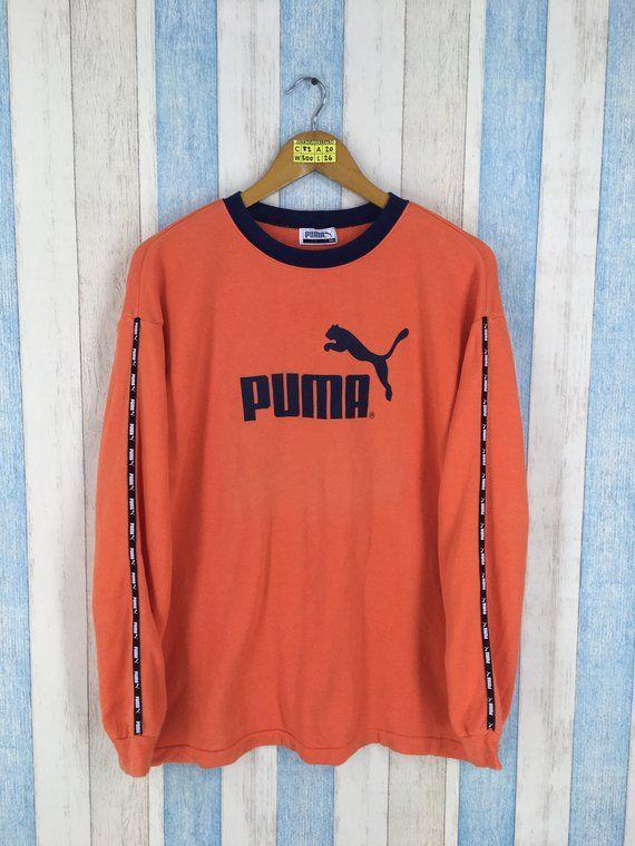 e4a3ba3daba59 PUMA Sweater Small Orange Ladies Vintage 1990's Cougars Puma Big ...