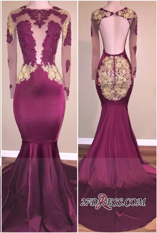 d7f19d8299d Gorgeous Appliques Long-Sleeve Open-Back Zipper Mermaid Prom Dress ...