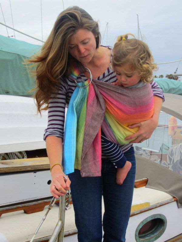 """Paige from Beachy Bundles converted this rainbow Girasol wrap into a ring sling."""