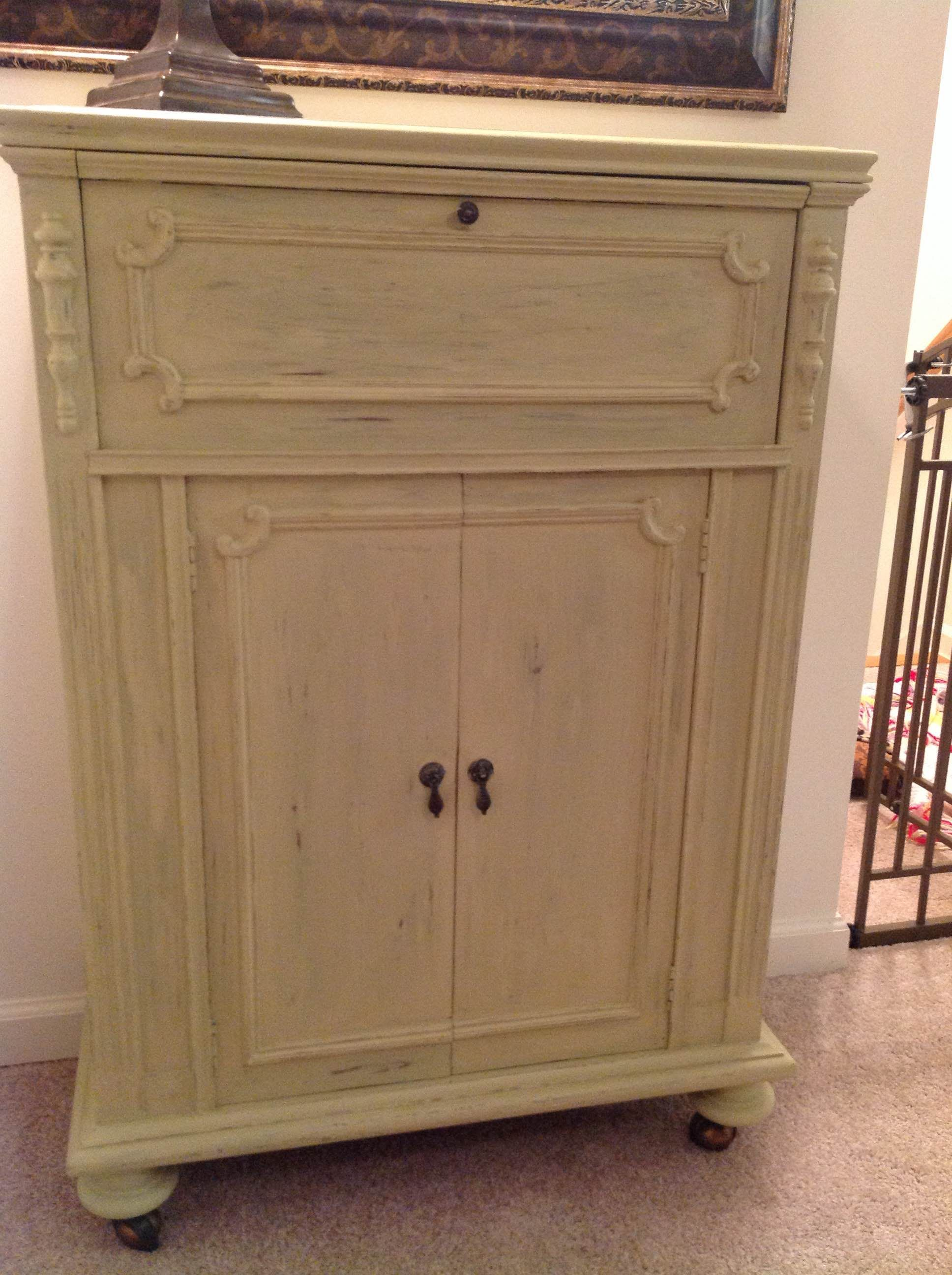 "Antique Cabinet chalk painted with Folk Art ""Oatmeal"" paint and"