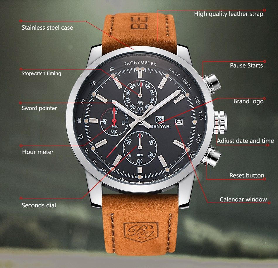 12eebfc4d72 BENYAR Large dial design Chronograph Sport Mens Watches Fashion Brand  Military waterproof Quartz Watch Clock Relogio Masculino  benyar  watch   luxury  promo
