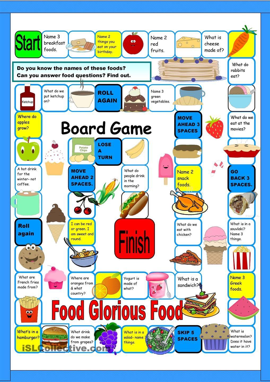 Board Game Food Free Esl Worksheets Repinned By