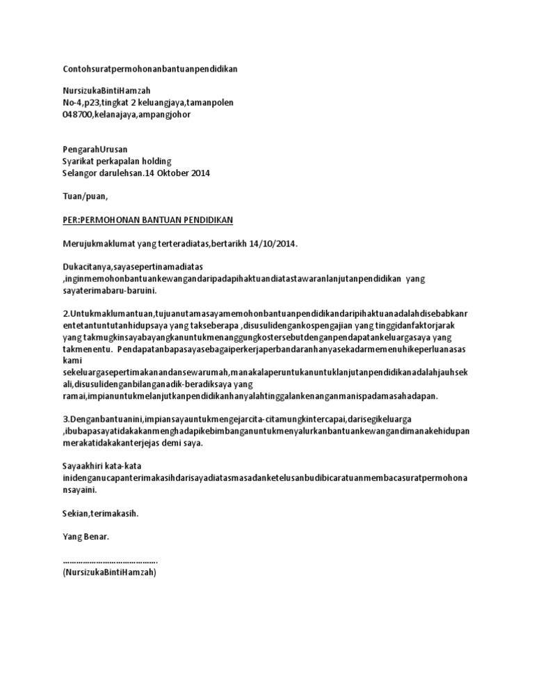 Contoh Surat Rasmi Memohon Bantuan The rules, Surat