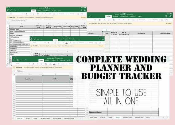 Wedding Planner  Budget Tracker Spread sheet - Simple to use - spending tracker spreadsheet