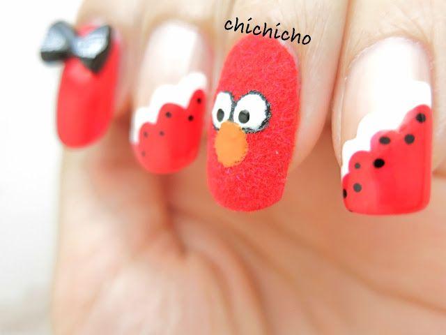 Fuzzy Elmo Nail Art My Nails Pinterest Nail Art Nails And