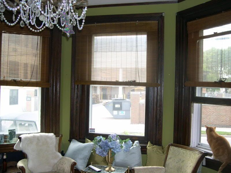 Green Walls With Dark Wood Trim