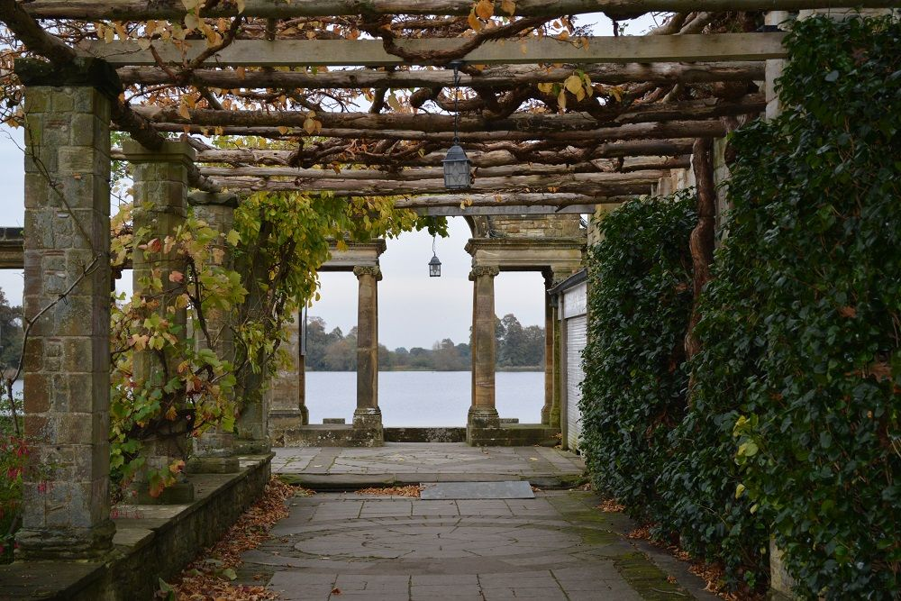 Autumn at Hever Castle - The Italian Gardens looking out to the lake