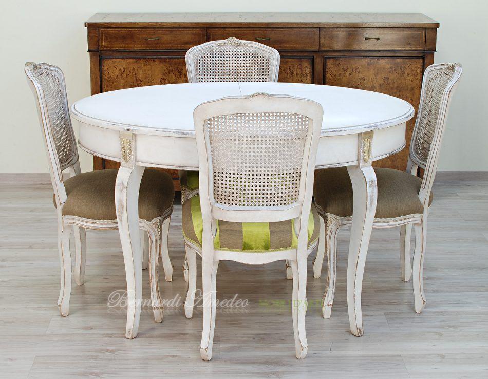 Tavolo ovale allungabile e poltroncine parigine con seduta - Tavolo bianco ovale allungabile ...