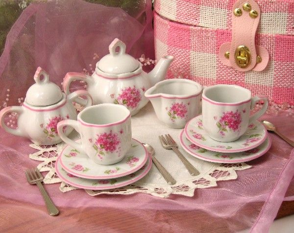 Tea Set Just For A Little Girl Pink Shabby Rose I Love To Have