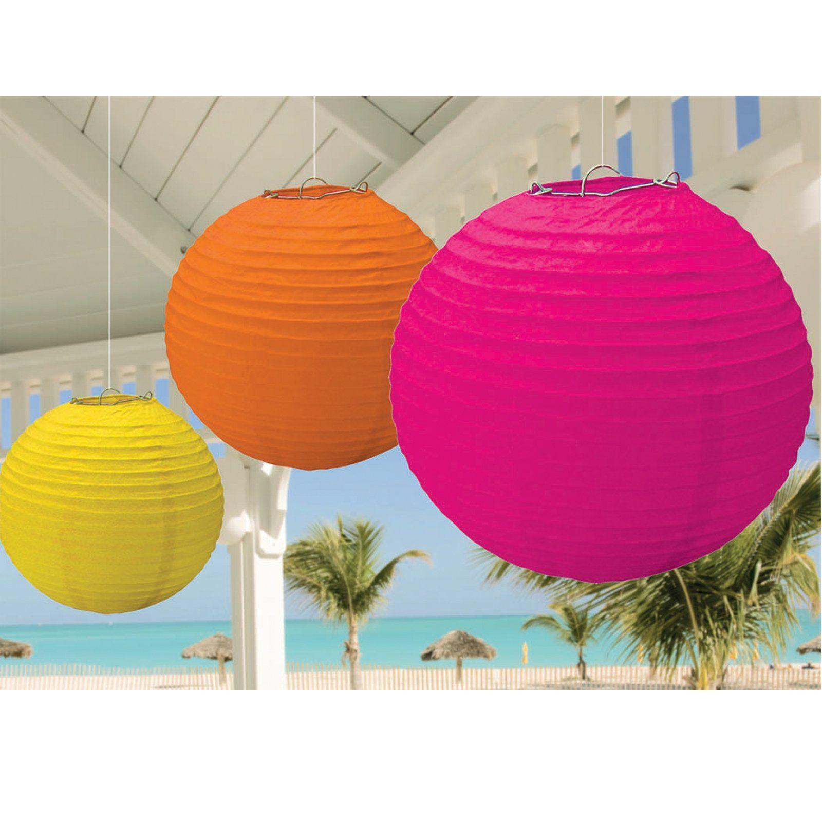 Hot Pink, Orange and Yellow Hanging Lanterns, 74718 | 90th birthday ...