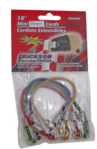 Erickson 06699 4 Mm X 10 Mini Bungey Cord Pack Of 4 By Erickson 1 80 This Contains Four 10 Inches Mini Bungey Cords Home Hardware Mini Tie Down Straps