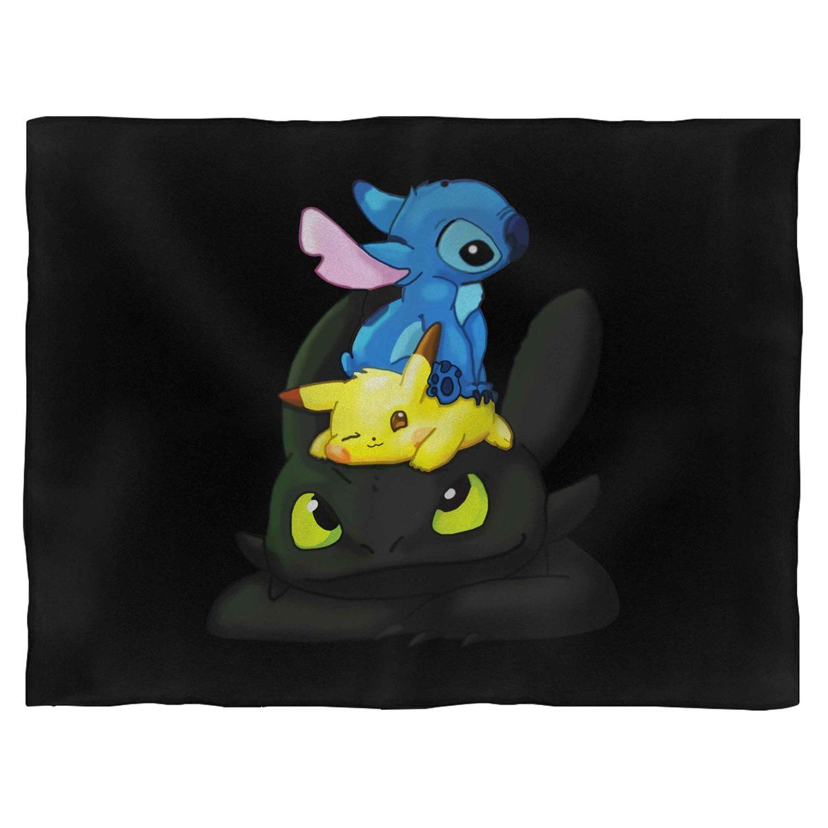 Pikachu And Toothless And Stitch Together Blanket Toothless And Stitch Stitch And Pikachu Cute Toothless