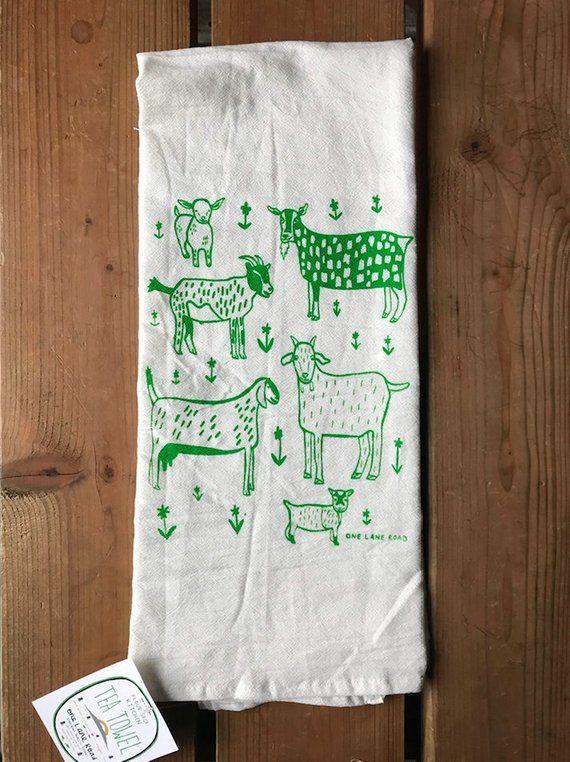 FARM ECHO MACHINE EMBROIDERED FLOUR SACK DISH TOWEL