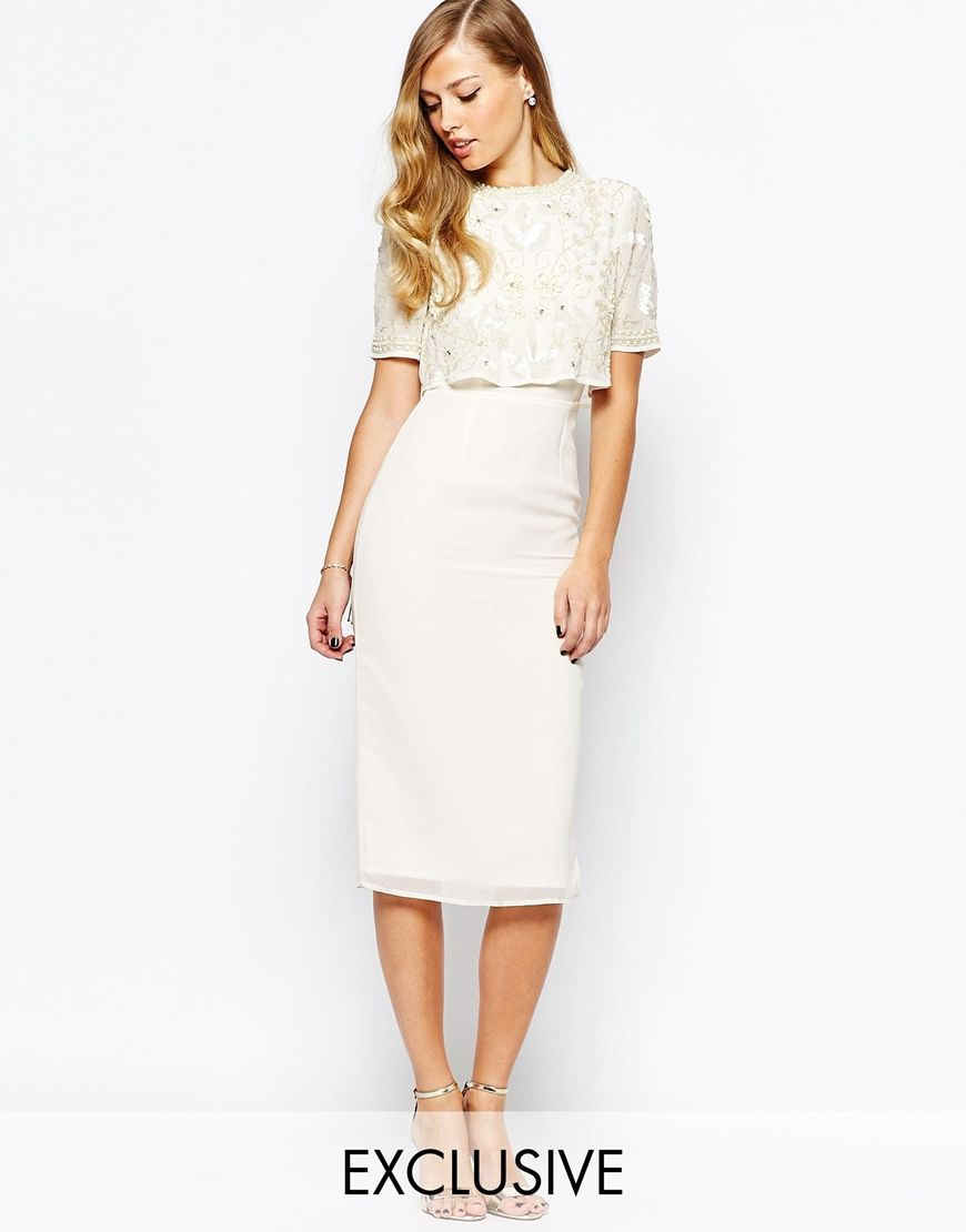 Image 1 of frock and frill embellished overlay pencil for Pencil dress for wedding