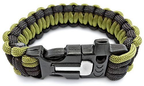 550 Paracord Survival Bracelet With Fire Starter And Whistle By