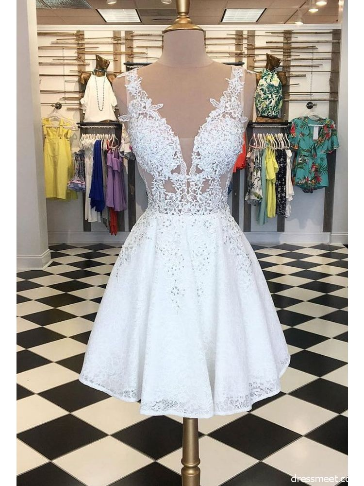 ac14681aac2 A Line V Neck Open Back Lace White Short Homecoming Dresses with Beading