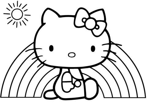 hello kitty rainbow coloring page | hello kitty coloring, kitty coloring, hello kitty colouring