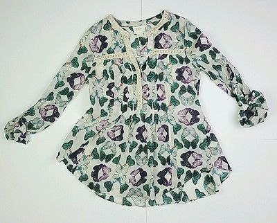 Anthropologie Maeve Size 2 Abella Pintuck Butterfly Blouse Crochet Lace Detail