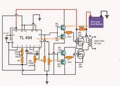PWM Modified Sine Wave    Inverter    Circuit Using IC TL494   tl494 in 2019   Circuit projects