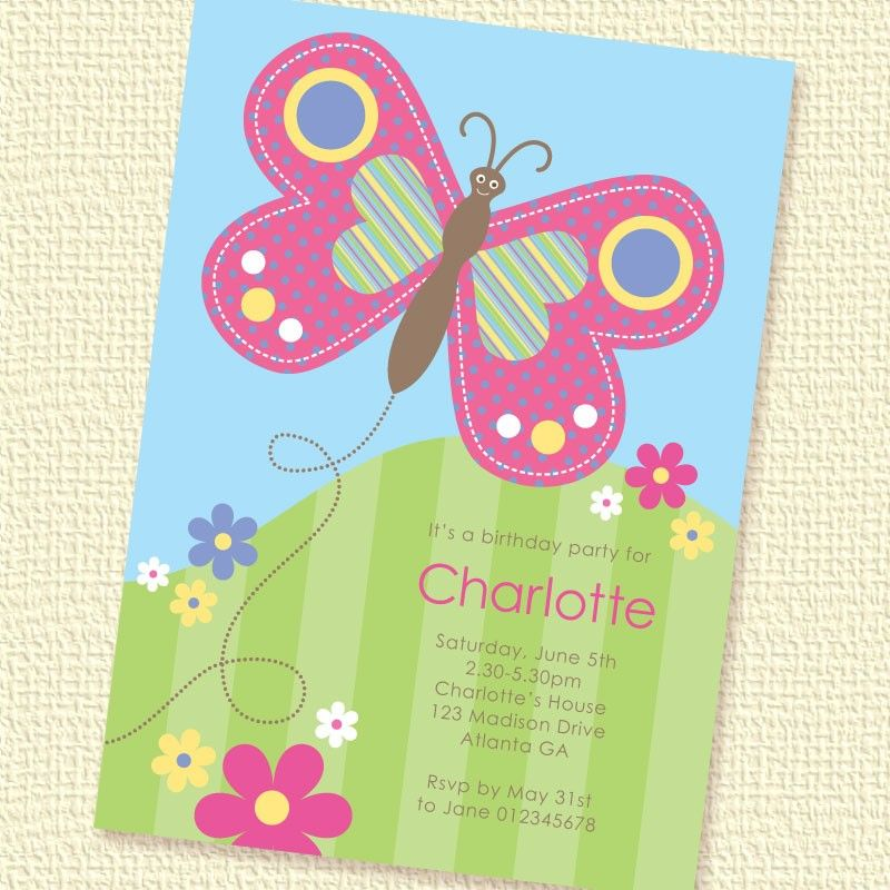 happy butterfly birthday party invitation printable custom, Birthday invitations