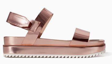 353ee17f929 Zara Metallic Platform Sandal with Track Sole mirrors the Lanvin Metallic  Flatform Sandal