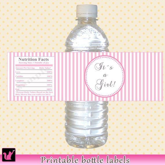 Baby Shower Bottle Labels Baby Shower Bottle Wrappers   Its A Girl  Printable White Pink Stripes Lines Wraps INSTANT DOWNLOAD