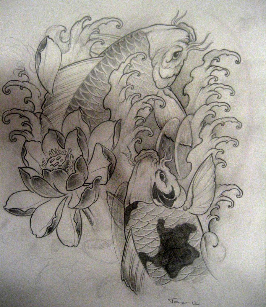 koi tattoo sketch by terokiiskinen on deviantart tattoo. Black Bedroom Furniture Sets. Home Design Ideas