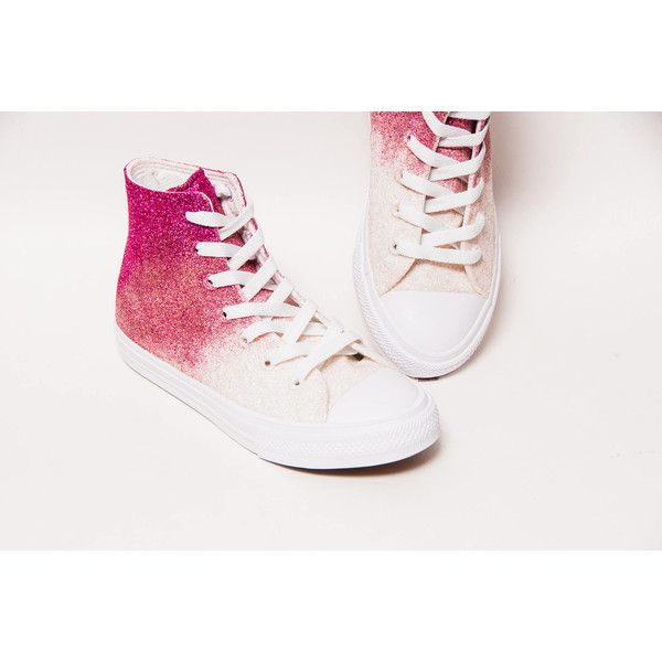 Glitter Ombre Triple Tone Raspberry Pink to Ivory Converse Ii Hi Top... ( 52be588a445