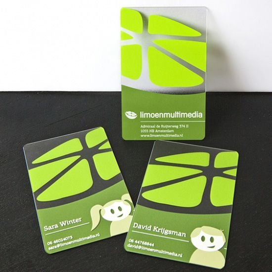 Green plastic business card design creativeplasticcards showcase of beautiful transparent plastic business cards reheart Image collections
