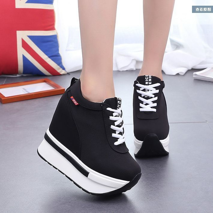 Fashion women's Round Toe lace up flattie high top sports sneakers casual shoes