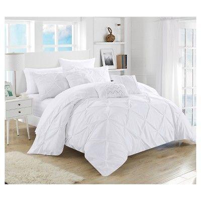 Valentina Pinch Pleated U0026 Ruffled Comforter Set 10 Piece (Queen) White   Chic  Home