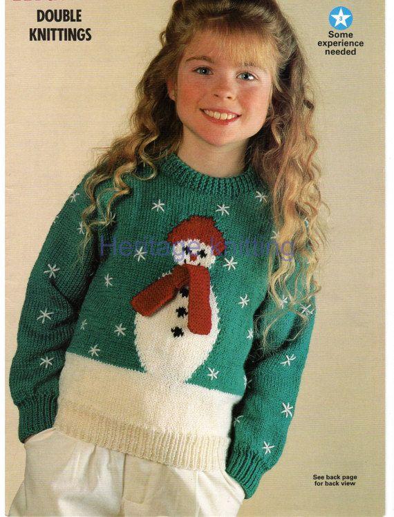 Boys girls childrens christmas snowman jumper dk knitting ...