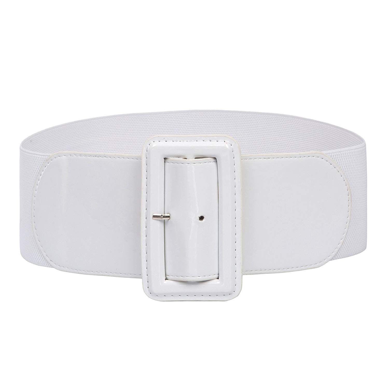 Ladies High Stretchy Waist Wide Patent Fashion Plain Leather Belt