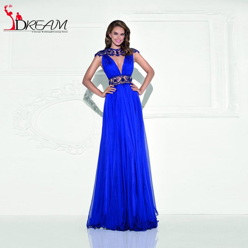 Royal Blue Tarik Ediz 2016 New Long Evening Prom Dresses Beading Chiffon Backless Women Formal Gowns robe de soiree