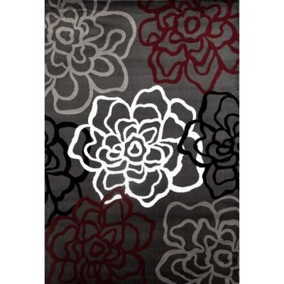 World Rug Gallery Contemporary Floral Red Gray Area Rug 6 Ft 6 In