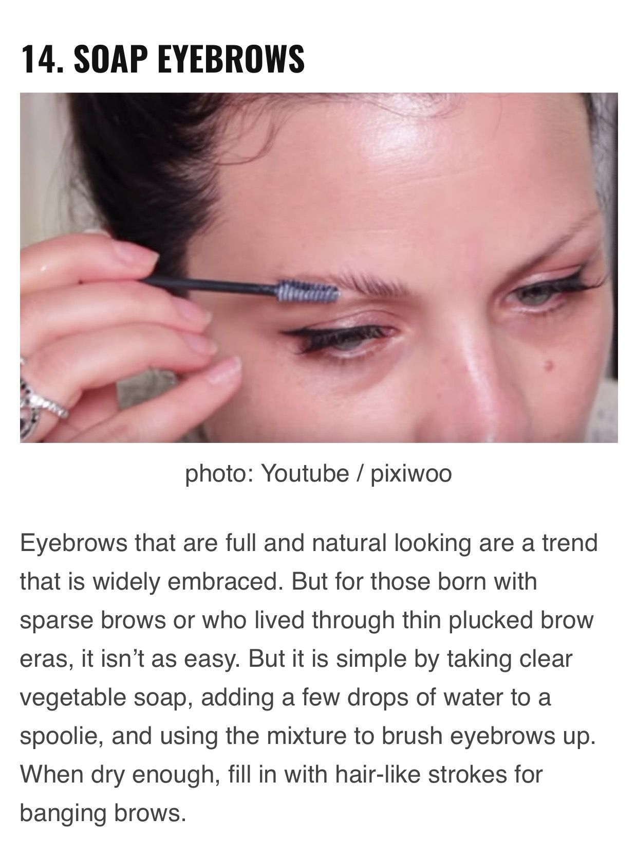 Set Eyebrows With A Vegetable Soap Sparse Brows Vegetable Soap