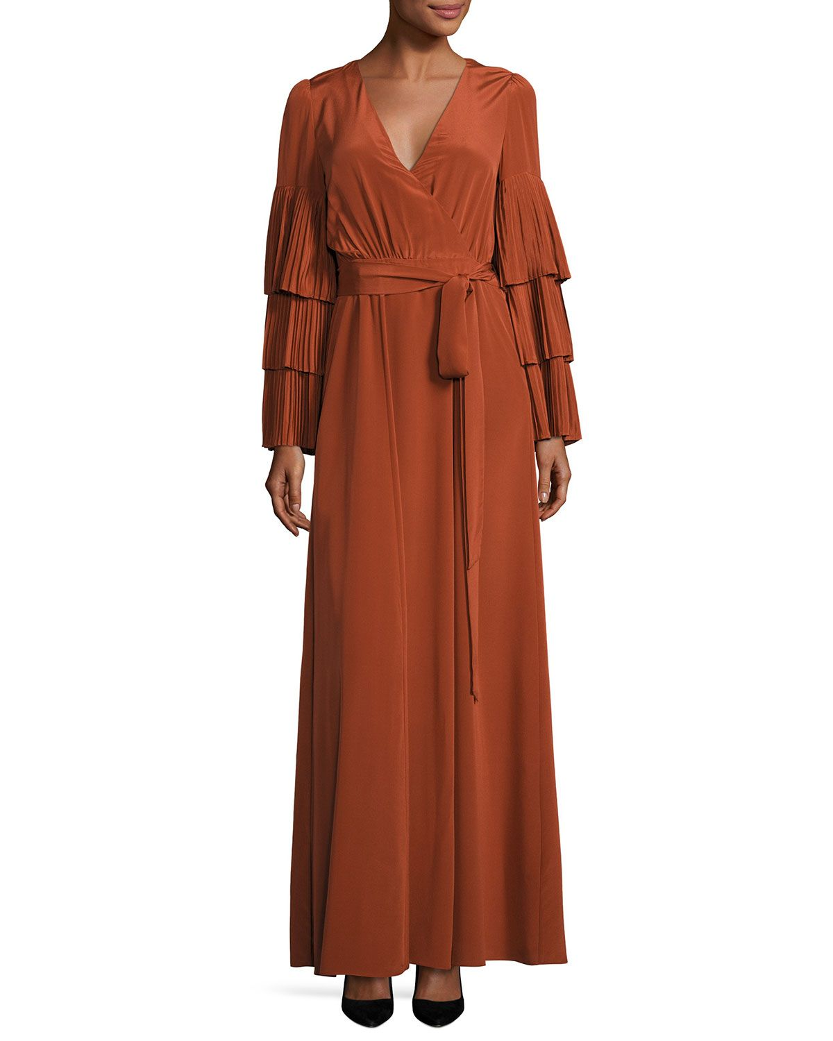 Co pleated tieredsleeve wrap gown burnt sienna maxi dresses