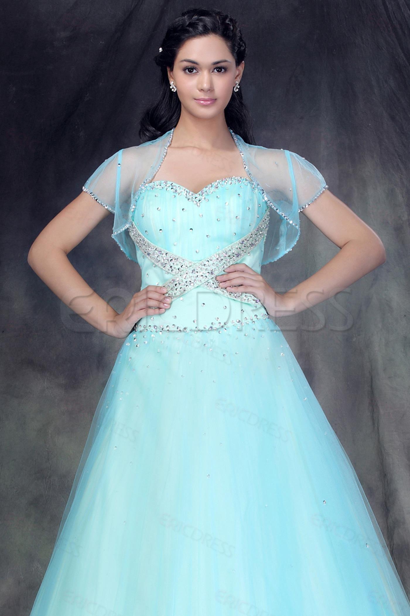 Pretty Short Sleeve Light Blue Lace Wedding Bolero/Jacket | Kat ...