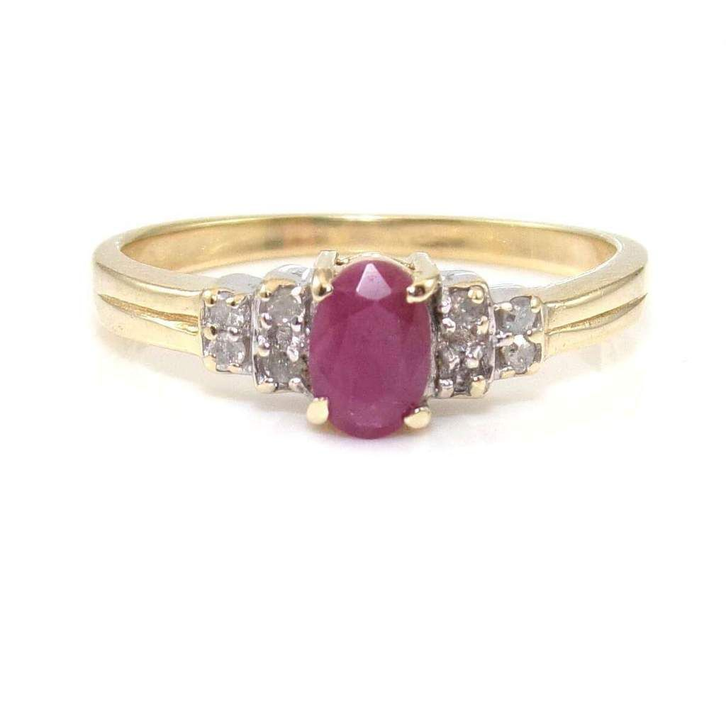 K yellow gold natural ruby diamond ring size jewelry