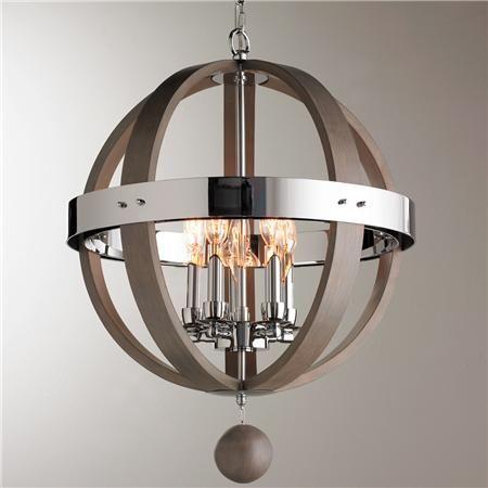 Wood And Chrome Barrel Sphere Chandelier Wood Metal
