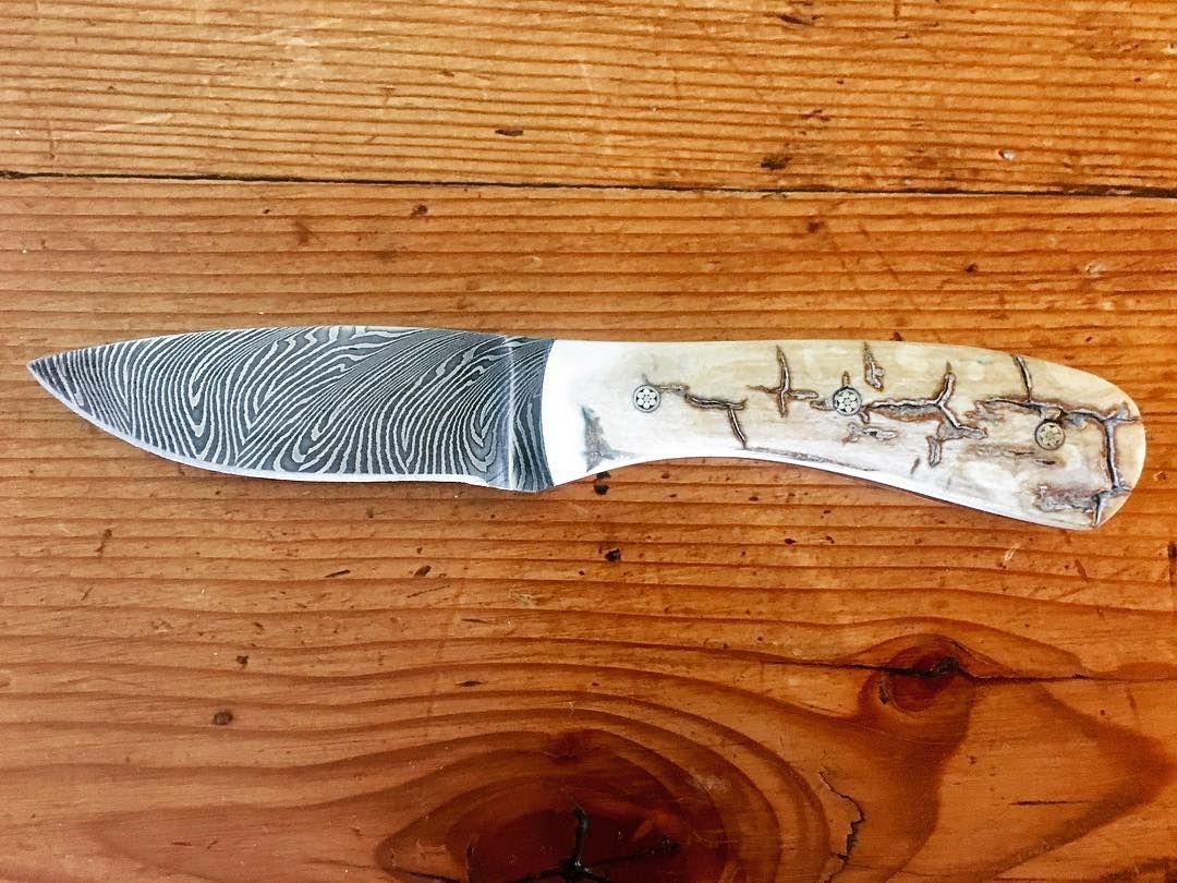 "5-1/2"" Fingerprint Damascus Caper  Woolly Mammoth Ivory"